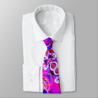 Electric Blue Pink Purple Abstract Pattern Tie
