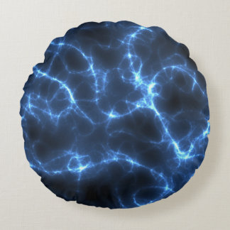 Electric blue round pillow