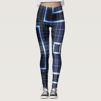 Electric Blue Square Geometric Leggings