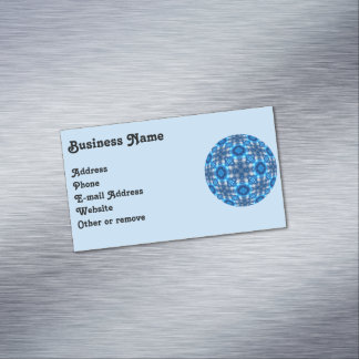Electric Blue Stars Kaleidoscope Mandala Business Card Magnet