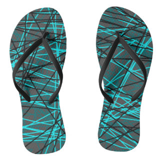 Electric blue string pattern flip flops