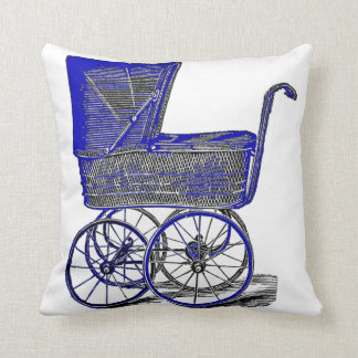 Electric Blue Vintage Carriage Nursery Pillow