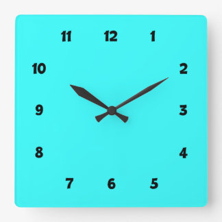 Electric Blue with Numbers Square Wall Clock