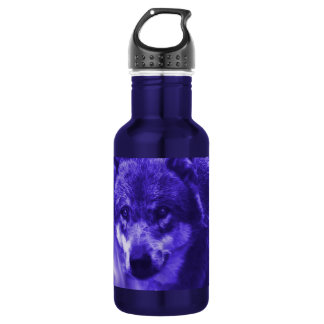 Electric Blue Wolf Face Water Bottle