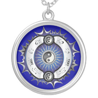 Electric Blue Yin Yang Silver Plated Necklace