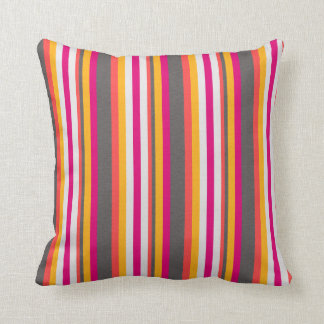 Electric Boogaloo Neon Striped Pattern Throw Pillow