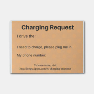 Electric Car charging request Post-it Notes