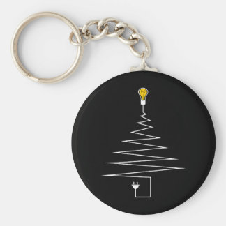 Electric Christmas tree Basic Round Button Keychain
