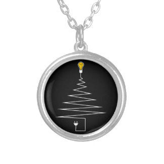 Electric Christmas tree Silver Plated Necklace
