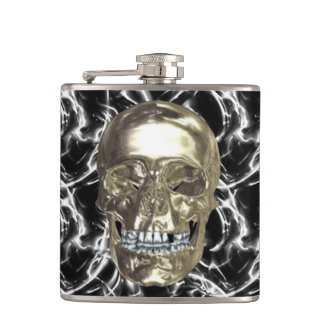 Electric Chrome Skull Flask