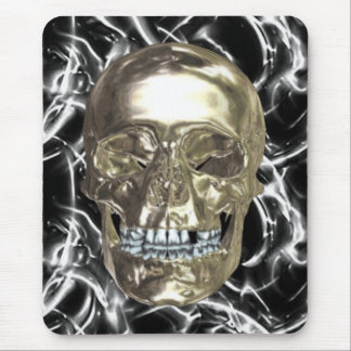 Electric Chrome Skull Mouse Pad