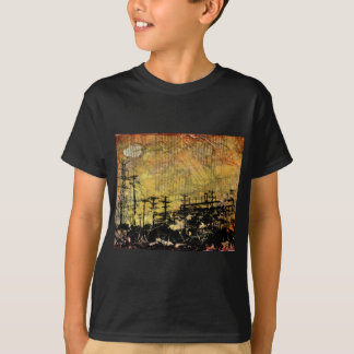 Electric Cityscape Kid's Dark T-Shirt