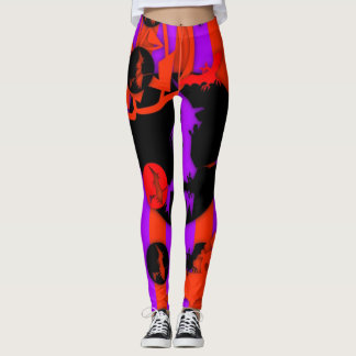 Electric Color Pop Halloween Purple Witch Leggings