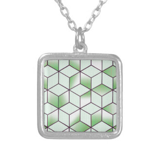 Electric Cubic Knited Effect Design Silver Plated Necklace