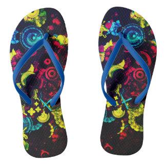 electric daisy unisex flip flops