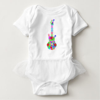 Electric digital Guitar circle design Music Baby Bodysuit