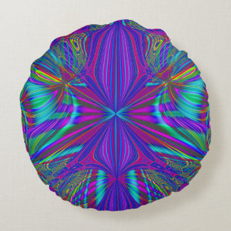 Electric Eclectic Round Pillow
