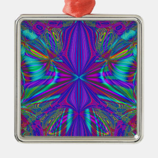 Electric Eclectic Silver-Colored Square Ornament