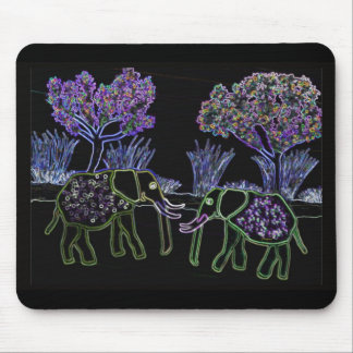 Electric Elephants Mouse Pad