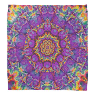 Electric Flower Purple Rainbow Kaleidoscope Art Bandannas