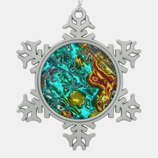 electric fractal 2 snowflake pewter christmas ornament