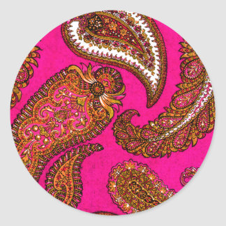 Electric Fuscia Paisley Envelope Seal Sticker