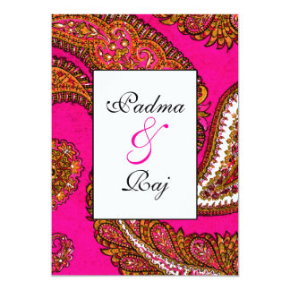 Electric Fuscia Paisley Wedding Invitation