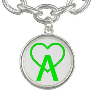 Electric Green A~Heart Charm Bracelet