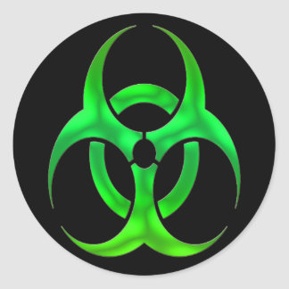 Electric Green Bio Hazard Classic Round Sticker