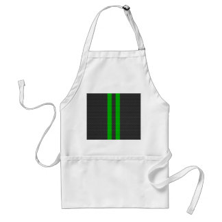 Electric Green Carbon Fiber Style Racing Stripes Adult Apron