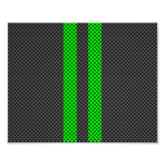 Electric Green Carbon Fiber Style Racing Stripes Photo