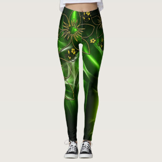 Electric Green Flower Design Leggings