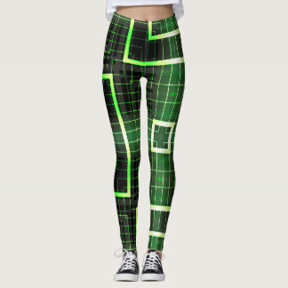 Electric Green Square Geometric Leggings