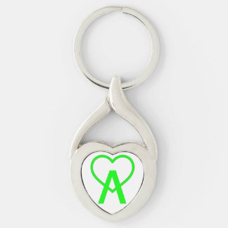 Electric Green Twisted A~Heart Keychain