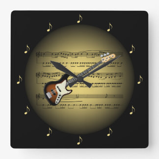 Electric Guitar 3-D Gold Globe ~ Sheet Music ~ BL Square Wall Clock