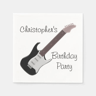 Electric Guitar Birthday Paper Napkin