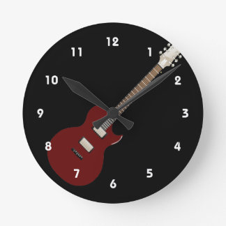electric guitar burgundy.png round clock