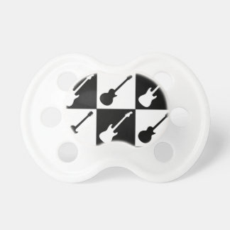Electric Guitar Checkerboard Baby Pacifiers