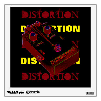 Electric Guitar Distortion Red & Yellow on Black Wall Decal