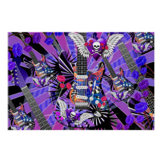 Electric Guitar Jester Skull Purple Band Musician Poster
