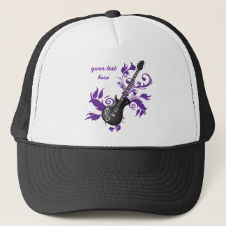 Electric guitar on purple leaves custom products trucker hat