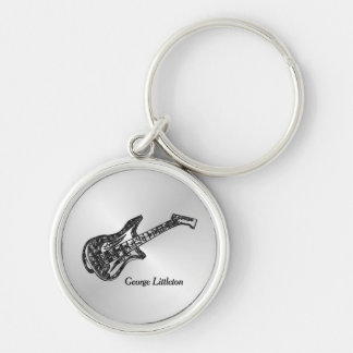 Electric Guitar on Silver Personal Keychain