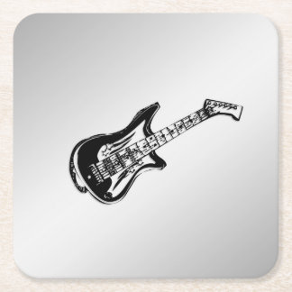 Electric Guitar on Silver Square Paper Coaster