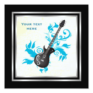 """Electric guitar on turquoise leaves custom product 5.25"""" square invitation card"""
