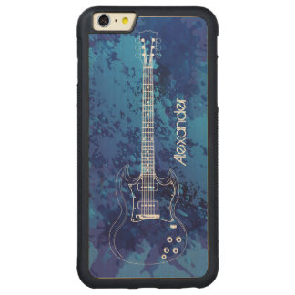 Electric Guitar Outline Blue Paint Splats Carved Maple iPhone 6 Plus Bumper Case