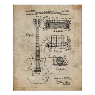 Electric Guitar Patent Poster