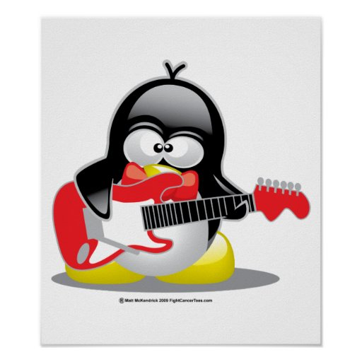 Electric Guitar Penguin Posters