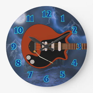 Electric Guitar Player Large Clock