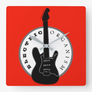 Electric Guitar Rock Music Cool Black Red Modern Square Wall Clock