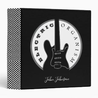 Electric Guitar Rock Music Cool Black White Modern Binder